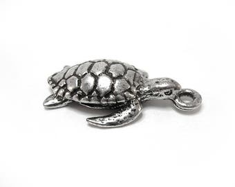 Silver turtle shaped 1 charm