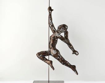 Acrobat sculpture, Pole dancer, Modern Original Sculpture, contemporary art, Metal free Standing art