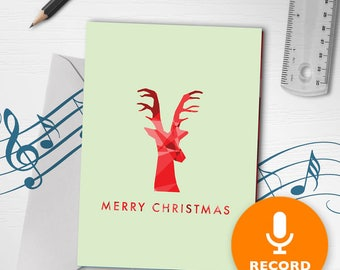 Recordable Christmas Card | Minimalist Christmas Card, Reindeer Christmas Card, Red Christmas Card, Christmas Dimensions Red 00012