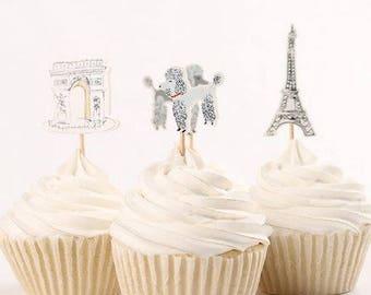 READY TO SHIP Paris Themed Cupcake Toppers, Eiffel Tower, Toppers, Picks, Cake Toppers, Cake Topper Pick, Cupcake Picks, Birthday, Baby