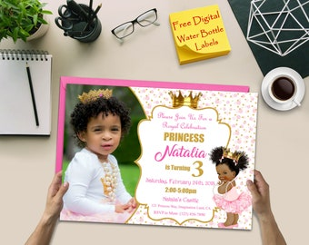 Princess Birthday Invitation, Princess Invitation, Princess Photo Invitation, Princess Party Invitation, Princess Water Bottle Label, Girl