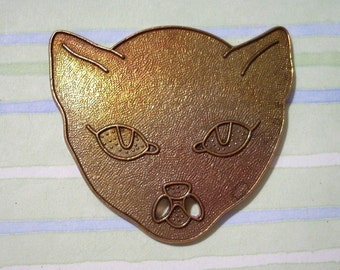 Large Vintage Brass Cat Head