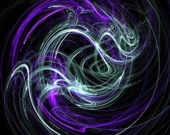 Digital Painting: Light Within - Violet & Indigo Swirls - Matted 5x7 Fine Art Print