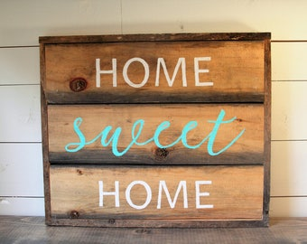 Home Sweet Home Sign // Reclaimed Wood Sign // Handmade Sign // Rustic Wood Sign // Painted Sign // Farmhouse Sign // Christmas Gifts