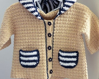 Crochet PATTERN - Sailor Hooded Cardigan