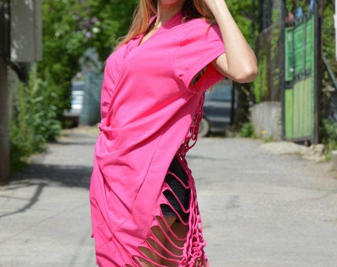 Plus Size Backless Pink Dress, Extravagant Long Kaftan Dress, Loose Open Back Cotton Dress by SSDfashion