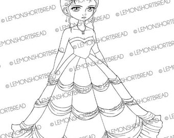 Digital Stamp Evening Ball Gown Bride, Digi Download, Wedding Bridal, Princess, Coloring Page, Graphic, Clip Art Scrapbooking Supplies
