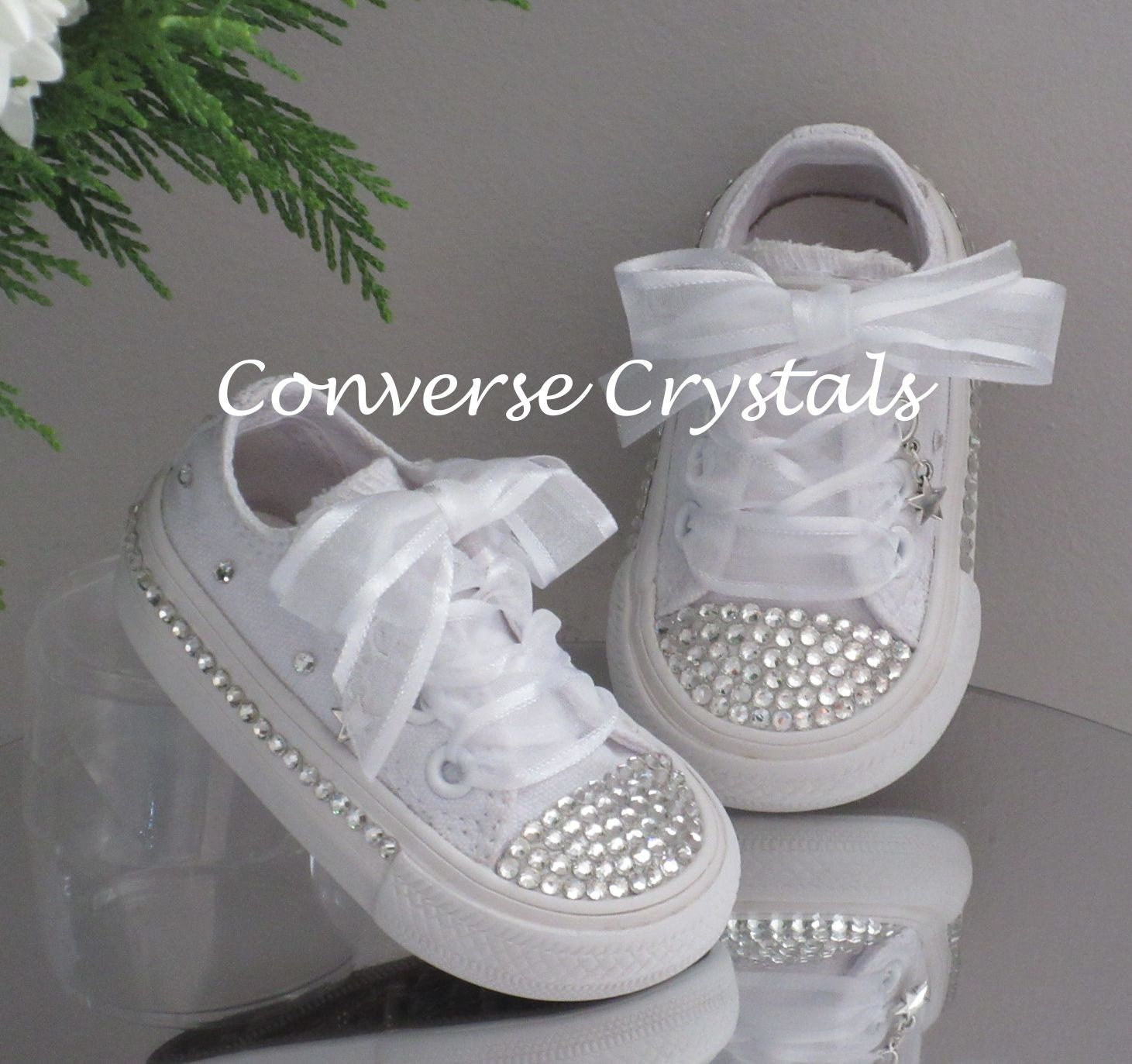 72fe2341b873 Mono White Custom Glass Crystal  Bling  Converse Infant Sizes 2-10 ...