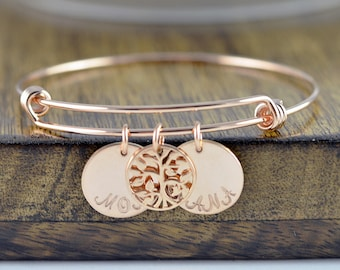 Rose Gold Family Tree Bracelet - Mother's Bracelet - Tree of Life Bracelet - Family Tree Jewelry - Grandmother Gift - Mothers Day Gift