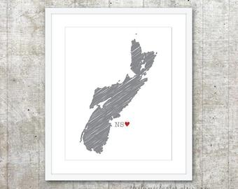 Nova Scotia Province Art Print - Custom Canadian Province Poster - NS Canada Province Poster - Slate Grey Red Heart - Modern Wall Art