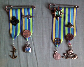 Set of Steampunk Medals, Cos Play Medals, Steampunk Cosplay Medals, Handmade Ribbon Medals, Steampunk Costume Medals, #SteampunkCosplay