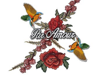 Embroidered Flowers Patches, Birds Patch, Roses Patches, Par Amour Patch for Fashion Crafts