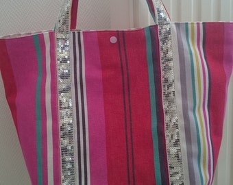 Tote bag with glitter with pockets and key clip