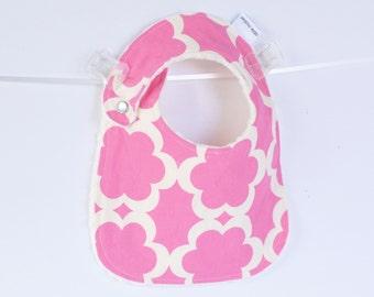 Baby Girl Bib, Adjustable Bib with Minky for Baby Toddler Girls Fushia Tarika