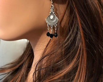 Chandelier Tribal Earrings: Antique Silver Medallion with Black Helix Swarovski Crystals