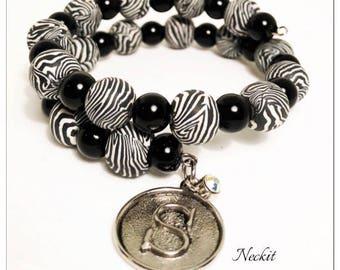 Beaded Zebra and Initial Charm Bracelet