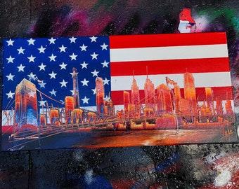 American Flag. Spray Paint Art.