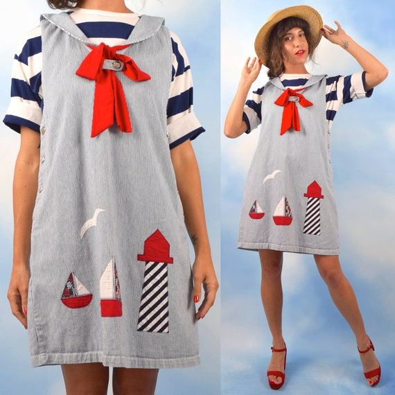 Vintage 90s Nautical Sailboats and Lighthouse Appliqued Blue and White Striped Jumper (size medium, large)