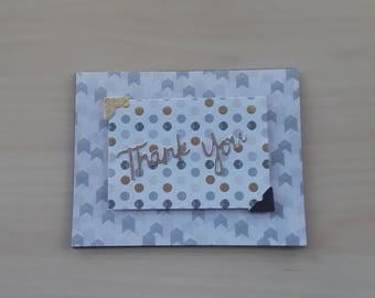 Thank you, Blank Thank You, Thank You Note Card, Dimensional Cards, Masculine Thank You, Gold and Black cards