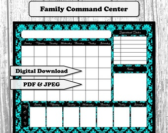 Family Command Center 16x20 | Dry Erase Calendar | Weekly Menu | Important Dates | Notes | Digital Download