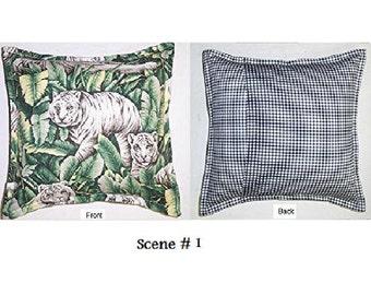 Handmade Throw Pillow Slip Cover Tiger Scene