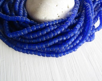 blue seed Beads, blue glass beads , translucent  small tube barrel spacer , indonesia,  New Indo-pacific 3 to 6mm / 22 inch strd - 6BB1-55