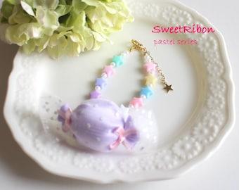 Fairy kei Kawaii Girly Harajyuku Purple Candy Pastel Star Bracelet PURPLE
