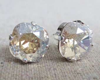 Swarovski Crystal Post Earrings, Champagne Diamond Cushion Square, Silver, Bridal Jewelry, Bridesmaids Gifts, Gift for Her