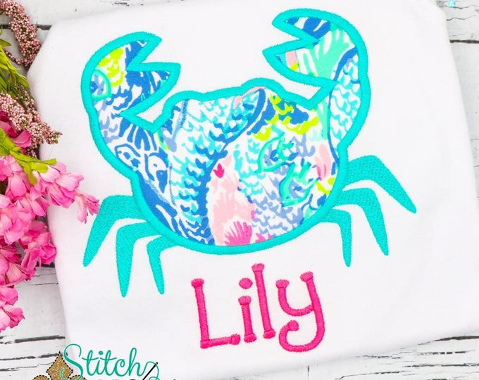 Featured listing image: Lilly Pulitzer Fabric Crab Applique, Crab Applique, Crab Shirt, Girly Crab Applique