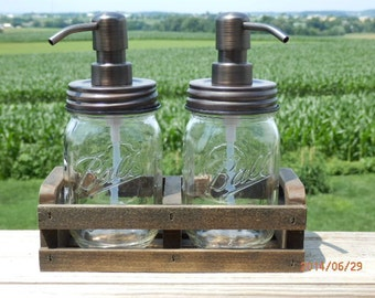 mason jar, soap dispensers,lotion,bath set,farmhouse,mason jar dispenser wooden crate,soap pump,mason jar,canning jar
