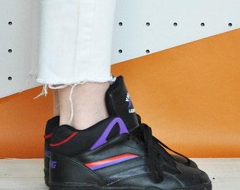 90s vegan sneakers club kid sneakers HIGH top sneakers RAVE sneakers faux leather shoes cheerleader sneakers / Size 6 us / 3.5 uk / 36 eu