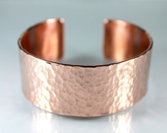 Full Dimpled Copper Cuff Bangle, Hammered Copper Bangle, Gift Ideas, Thick Heavy Bangle, Rustic, Adjustable, Gifts For Her