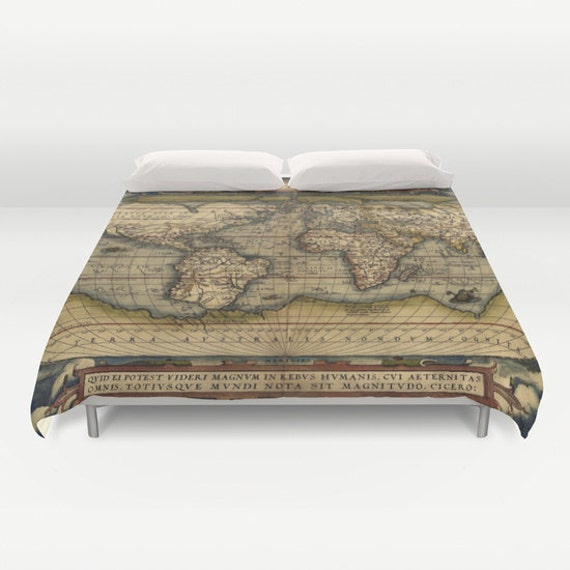 Antique world map duvet cover vintage world map bedding old like this item gumiabroncs Gallery
