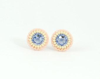 Blue stud earrings | blush stud earrings | dusty blue and peach wedding earrings | blush slate blue bridesmaid earrings | unique earrings