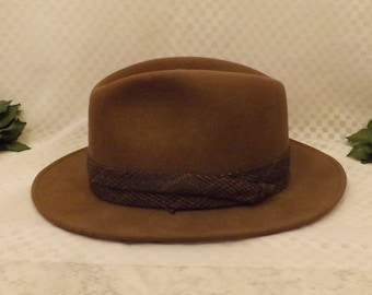 60's Country Gentleman Men's Brown Wool Felt Fedora Size 7 1/4