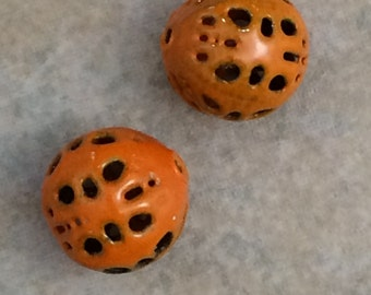 Torch fire enameled orange beads