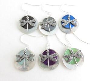 Shell & Silver Dragonfly Earrings | You Choose Color | Dragonfly Earrings Sterling Silver Dragonfly Jewelry, Mussel Shell Earrings, Bohemian
