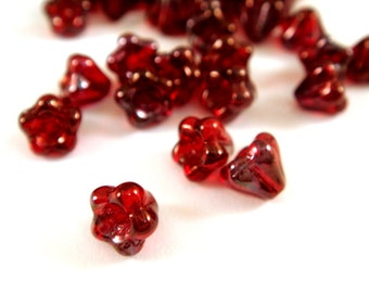 25 Siam Baby Bell Flowers Czech Glass Ruby Red Flower Beads 6x4mm 1mm hole - 25 pc - G6060-SRY25