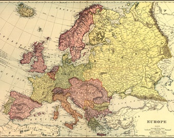 Poster, Many Sizes Available; Map Of Europe 1898