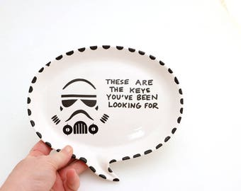 Star Wars key plate , stormtrooper - the keys you're looking for - ceramics and pottery - home and living - gifts under 20