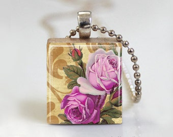 Altered Art Floral Pink Purple Roses - Scrabble Tile Pendant - Free Ball Chain Necklace or Key Ring