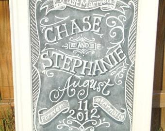 Chalkboard Art Sign for your Wedding or Event Framed 24 x 39