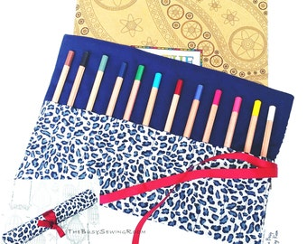 Pencil Roll in Leopard Print, Pencil Case, Crayon Roll, Gift, Pen Storage, Artist, School, College, University, Stationary