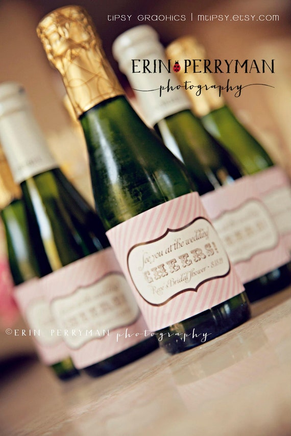 Personalized Printable Champagne Label Sticker Design Cheers - Mini champagne bottle labels template