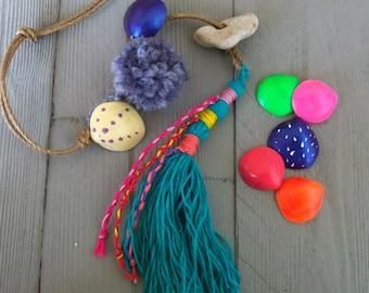 Long Tassel Pendant, Tassel Keychain, Talisman, Accessory, For Bohemian Wall Decor, Beaded Tassel, Good Luck