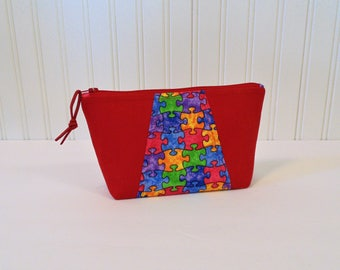 Autism Awareness, Cosmetic Case, Make up Bag, Cell Phone Case, Clutch, Glasses Case