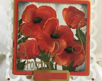 Handmade and Hand Painted Poppies Greetings Card. General Greetings.