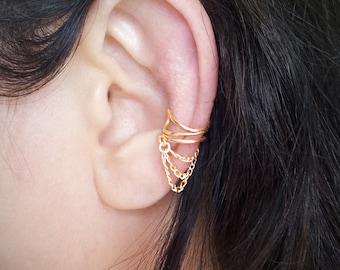 Gold Chain Ear Cuff  Gold plated Chain Ear Wrap
