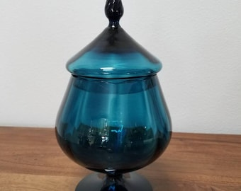 Vintage Italian Decanter / Genie Bottle/ Apothocary Jar/ Mid Century Modern Teal Glass /Footed / Flame Top Empoli