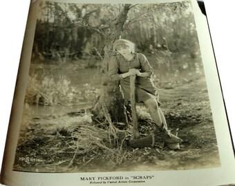 "Mary Pickford, 2 Original Photographs, Movie Stills, ""Scraps,"" ""Suds,"" Silent Movies, Black & White"
